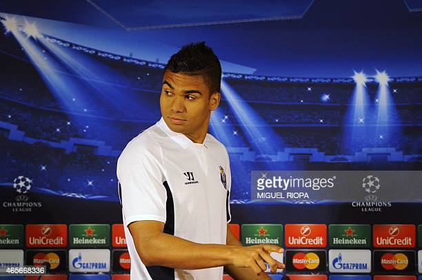 Porto's Brazilian midfielder Casemiro arrives for a press conference before a training session at the Dragao stadium in Porto on March 9 on the eve...
