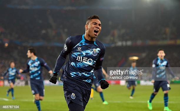 Porto's Brazilian midfielder Casemiro jubilates after scoring an equalizer that was later not allowed by the referee for offside positions during the...