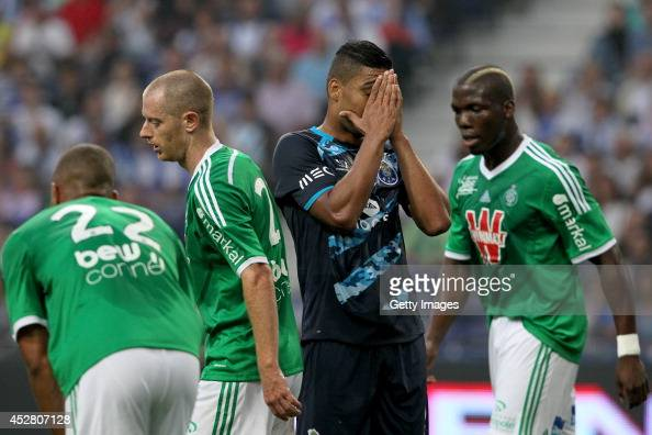 Porto's Brazilian midfielder Casemiro reacts after missing a goal during a preseason friendly match between FC Porto and SaintEtienne on July 27 2014...