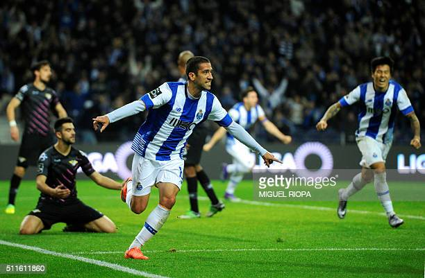 Porto's Brazilian midfielder Evandro celebrates a goal during the Portuguese league football match FC Porto vs Moreirense FC at the Dragao stadium in...