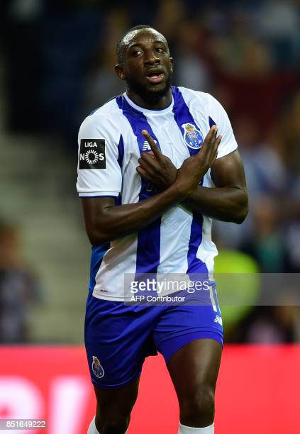 Porto's Cameroonian forward Vincent Aboubakar celebrates after scoring a goal during the Portuguese league football match FC Porto vs Portimonense SC...