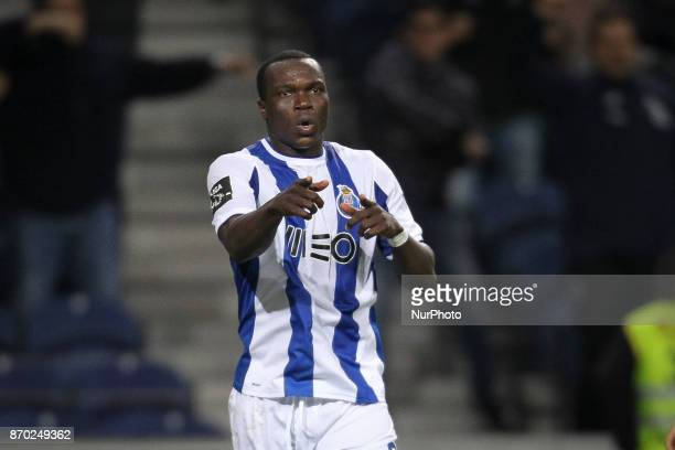 Porto's Cameroonian forward Vincent Aboubakar celebrates after scoring goal during the Premier League 2017/18 match between FC Porto and Belenenses...