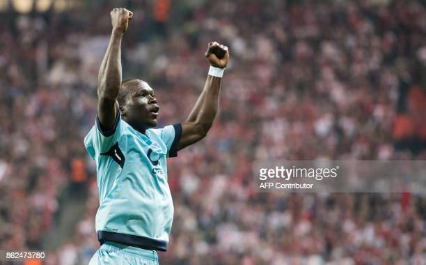 Porto´s Cameroonian forward Vincent Aboubakar celebrates scoring during the UEFA Champions League group G football match RB Leipzig v FC Porto in...