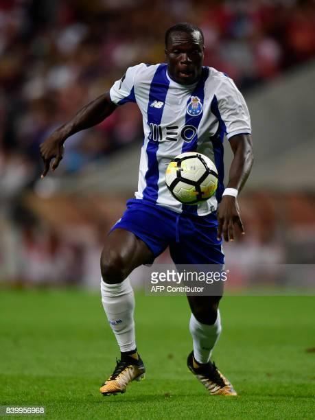 Porto's Cameroonian forward Vincent Aboubakar controls the ball during the Portuguese league football match Sporting Clube de Braga vs FC Porto at...