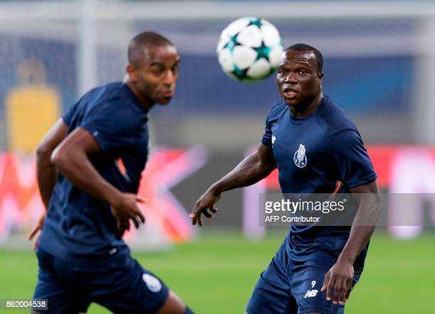 Porto´s Cameroonian forward Vincent Aboubakar eyes the ball during a training session on the eve of the UEFA Champions League football match between...
