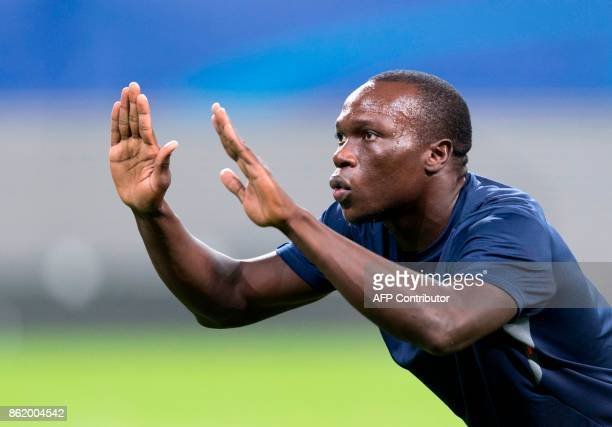 Porto's Cameroonian forward Vincent Aboubakar gestures during a training session on the eve of the UEFA Champions League football match between RB...