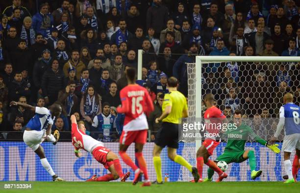 Porto's Cameroonian forward Vincent Aboubakar shoots to score a goal during their UEFA Champions League group G football match FC Porto vs Monaco at...
