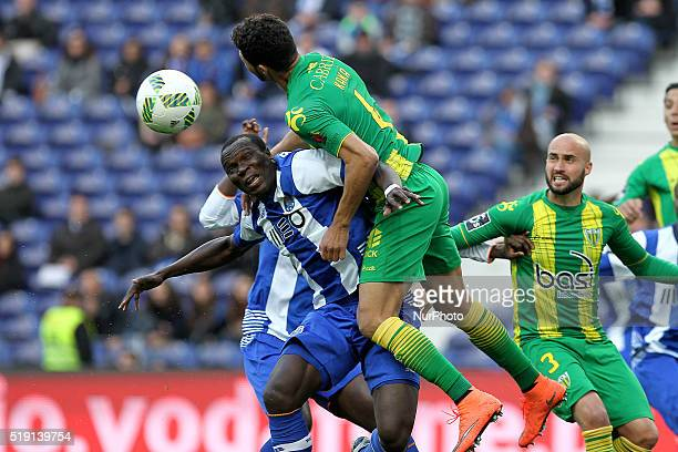 Porto's Cameroonian forward Vincent Aboubakar vies with CD Tondela's Brazilian defender Kaká during the Premier League 2015/16 match between FC Porto...