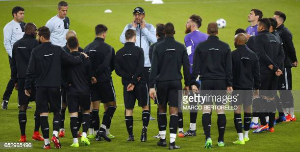 Porto's coach Nuno Espirito Santo from Portugal leads a training session on the eve of the UEFA Champions League football match Juventus Vs FC Porto...