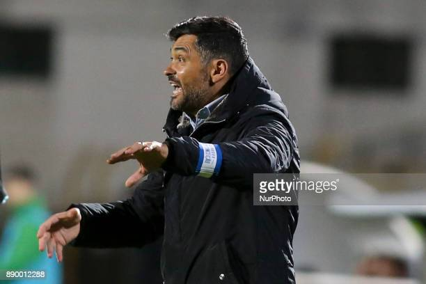 Porto's coach Sergio Conceicao gestures from the sideline during the Portuguese League football match between Vitoria Setubal and FC Porto at Bonfim...