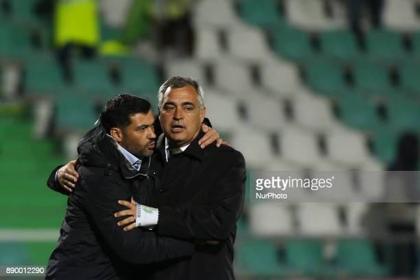 Porto's coach Sergio Conceicao greeting Setubal's coach Jose Couceiro during the Portuguese League football match between Vitoria Setubal and FC...