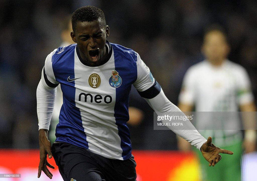 Porto's Colombian forward Jackon Martinez celebrates after scoring a goal during the Portuguese league football match FC Porto vs Moreirense at the Dragao Stadium in Porto on December 8, 2012.