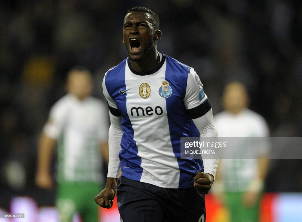 Porto's Colombian forward Jackon Martinez celebrates after scoring a goal during the Portuguese league football match FC Porto vs Moreirense at the Dragao Stadium in Porto on December 8, 2012. AFP PHOTO/ MIGUEL RIOPA