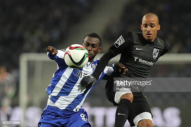 Porto's Colombian forward Jackson Martinez and Vitoria SC's Portuguese defender Bruno Gaspar during the Premier League 2014/15 match between FC Porto...