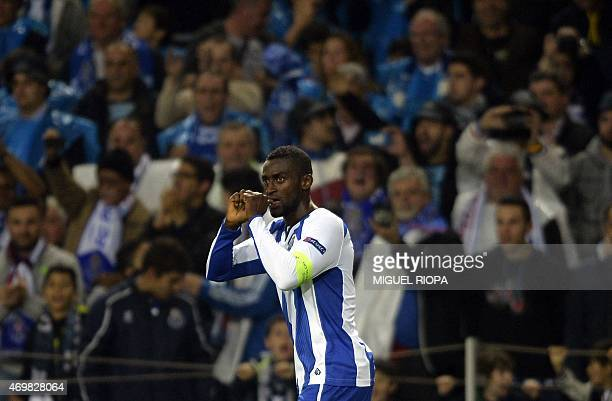 Porto's Colombian forward Jackson Martinez celebrates a goal during the UEFA Champions League quarter final football match FC Porto vs FC Bayern...