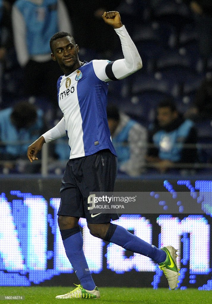 Porto's Colombian forward Jackson Martinez celebrates after scoring during the Portuguese league football match FC Porto vs Gil Vicente at the Dragao Stadium in Porto on January 28, 2013. Porto won the match 5-0.