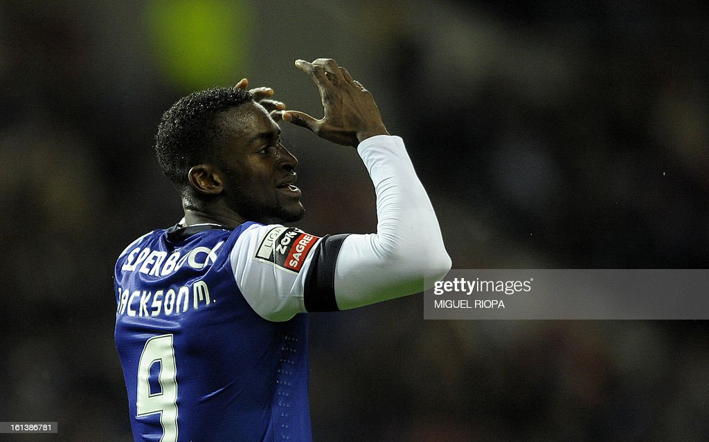 Porto's Colombian forward Jackson Martinez gestures after loosing a chance to score a goal during the Portuguese first league football match FC Porto vs Olhanense at the Dragao stadium in Porto, on February 10, 2013. The match ended in a draw 1-1.