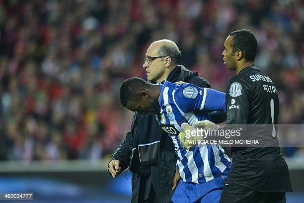 FC Porto's Colombian forward Jackson Martinez leaves the field after being injured during the Portuguese league football match SL Benfica vs FC Porto...