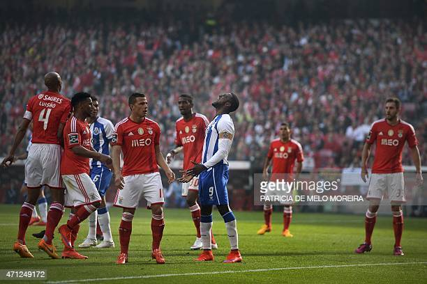 FC Porto's Colombian forward Jackson Martinez reacts after missing goal opportunity during the Portuguese league football match SL Benfica vs FC...
