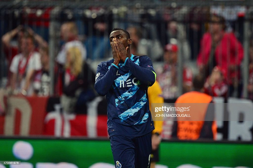 Porto's Colombian forward Jackson Martinez reacts to a missed chance on goal during the UEFA Champions League second-leg quarter-final football match Bayern Munich v FC Porto in Munich, southern Germany on April 21, 2015. AFP PHOTO / JOHN MACDOUGALL