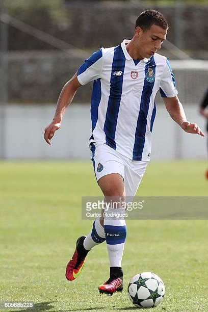 Porto's defender Diogo Dalot during the UEFA Youth Champions League match between FC Porto and FC Copenhagen at Centro de Estagio do Olival on...