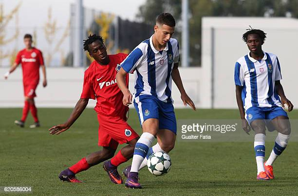Porto's defender Diogo Dalot with Club Brugge KV's midfielder Singa Joel Ito in action during the UEFA Youth Champions League match between FC Porto...