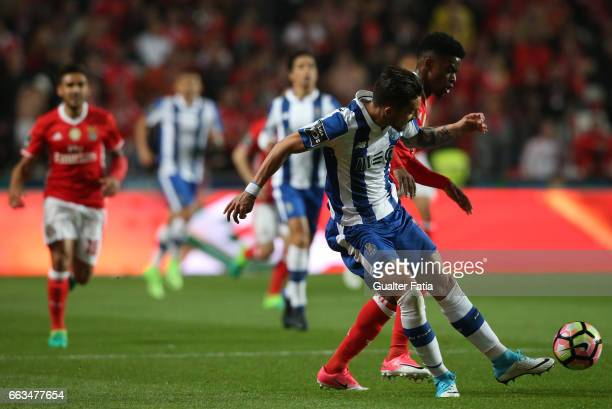Porto's defender from Brazil Alex Telles with SL Benfica's defender from Portugal Nelson Semedo in action during the Primeira Liga match between SL...