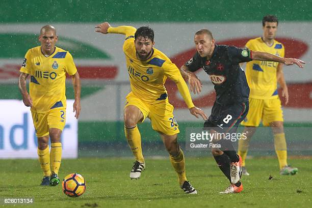 Porto's defender from Brazil Felipe with Belenenses's midfielder Andre Sousa from Portugal in action during the Primeira Liga match between Os...