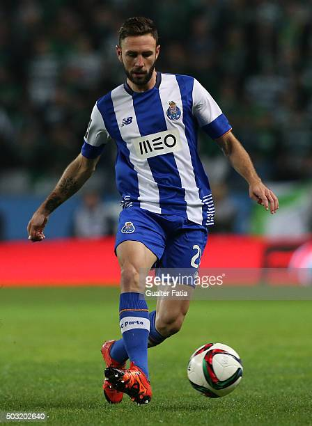 Porto's defender Miguel Layun in action during the Primeira Liga match between Sporting CP and FC Porto at Estadio Jose Alvalade on January 2 2016 in...