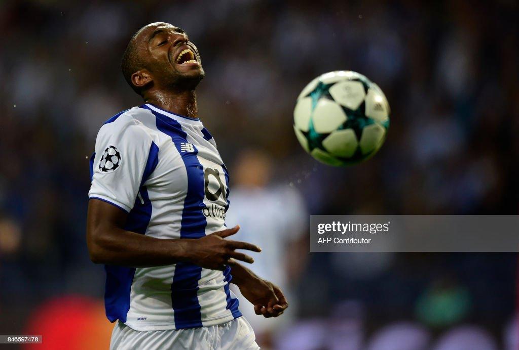 Porto's defender Ricardo Pereira reacts during the UEFA Champions League football match FC Porto vs Beskitas JK at the Dragao stadium in Porto on September 13, 2017. Besiktas won the match 3-1. /
