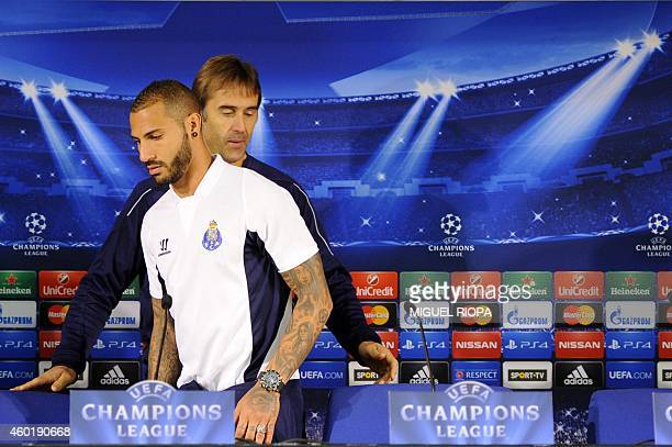 Porto's forward and captain Ricardo Quaresma and Spanish coach Julen Lopetegui arrive for a press conference at the Dragao Stadium in Porto on...