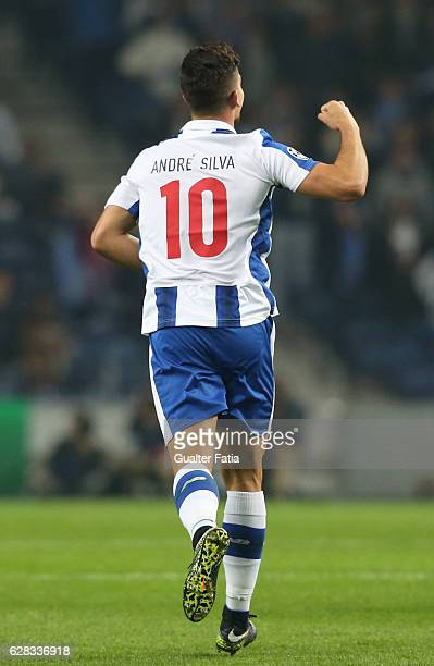 Porto's forward Andre Silva celebrates after scoring a goal after scoring a goal during the UEFA Champions League match between FC Porto and...