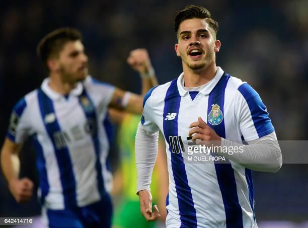 Porto's forward Andre Silva celebrates after scoring the opening goal during the Portuguese league football match FC Porto vs CD Tondela at the...