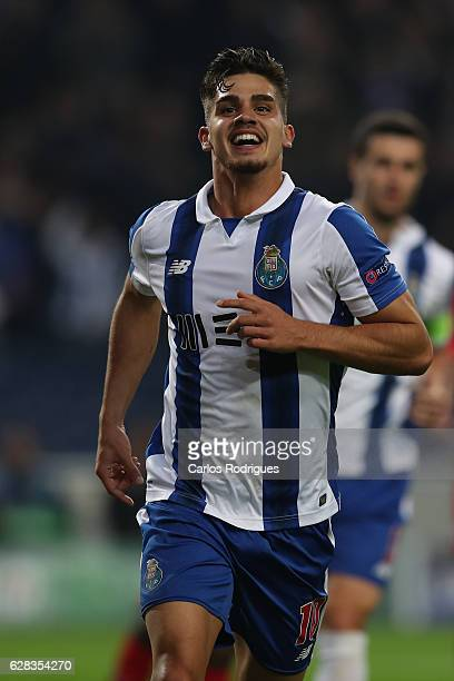 Porto's forward Andre Silva from Portugal celebrates scoring Porto fourth goal during the match between FC Porto v Leicester City FC UEFA Champions...