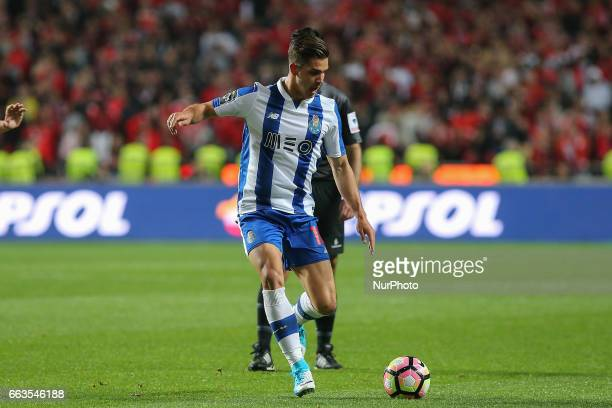 FC Portos forward Andre Silva from Portugal during the Premier League 2016/17 match between SL Benfica v FC Porto at Luz Stadium in Lisbon on April 1...