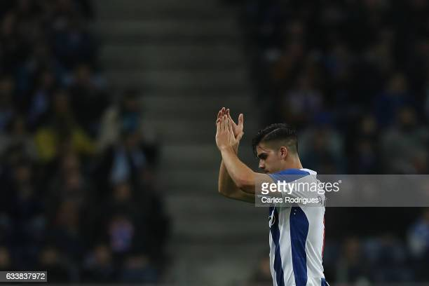Porto's forward Andre Silva from Portugal thanks Porto supporters during the FC Porto v Sporting CP Primeira Liga match at Estadio do Dragao on...