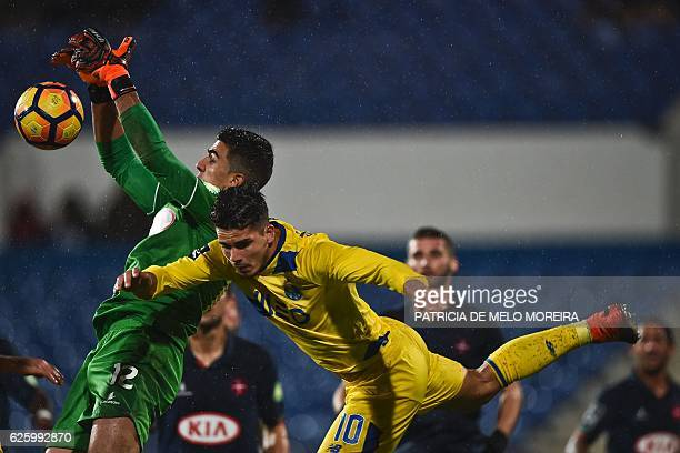 Porto's forward Andre Silva vies with Belenenses' Swiss goalkeeper Joel Pereira during the Portuguese league football match OS Belenenses vs FC Porto...