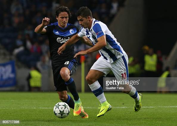 Porto's forward Andre Silva with FC Copenhagen's midfielder Thomas Delaney in action during the UEFA Champions League match between FC Porto and FC...