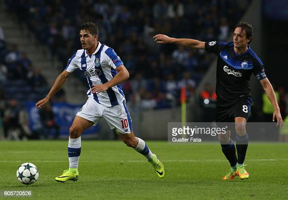 PortoÕs forward Andre Silva with FC Copenhagen«s midfielder Thomas Delaney in action during the UEFA Champions League match between FC Porto and FC...