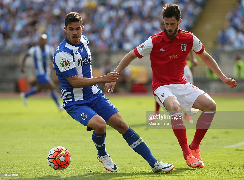 FC Porto's forward Andre Silva (L) with SC Braga's defender Ricardo Ferreira (R) in action during the Portuguese Cup Final match between FC Porto and SC Braga at Estadio Nacional on May 22, 2016 in Lisbon, Portugal.
