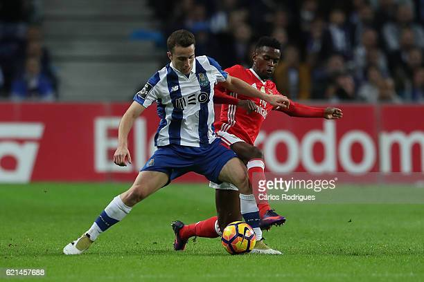 PortoÕs forward Diogo Jota from Portugal vies with Benfica's defender Nelson Semedo from Portugal for the ball possession during the FC Porto v SL...