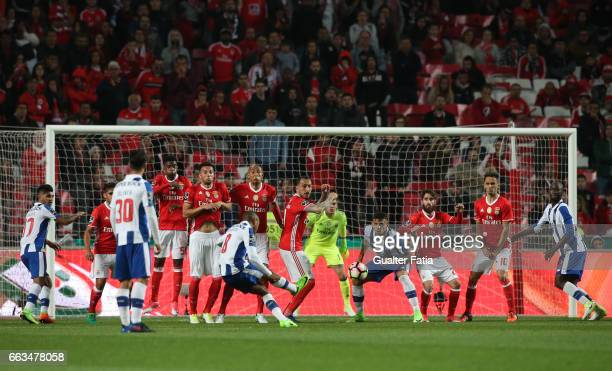 Porto's forward from Algeria Yacine Brahimi in action during the Primeira Liga match between SL Benfica and FC Porto at Estadio da Luz on April 1...