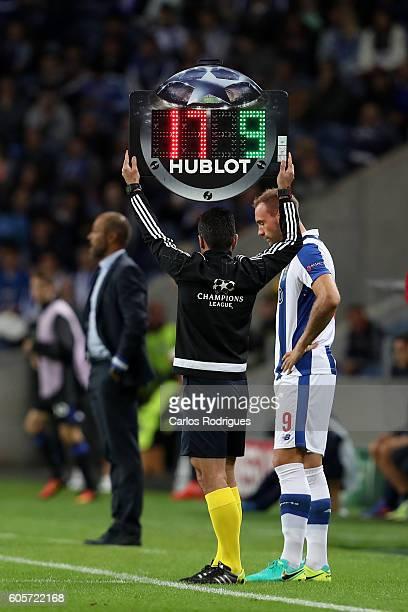 Porto's forward from Belgium Laurent Depoitre during the UEFA Champions League match between FC Porto v FC Copenhagen at Estadio do Dragao on...