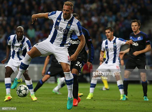 Porto's forward from Belgium Laurent Depoitre in action during the UEFA Champions League match between FC Porto and FC Copenhagen at Estadio do...