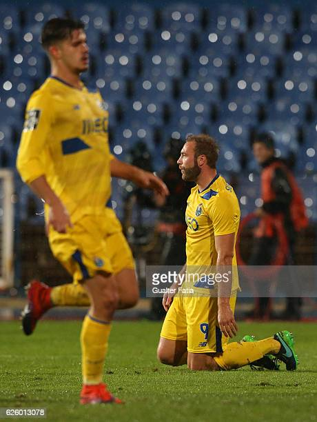 Porto's forward from Belgium Laurent Depoitre reaction after missing a goal opportunity during the Primeira Liga match between Os Belenenses and FC...