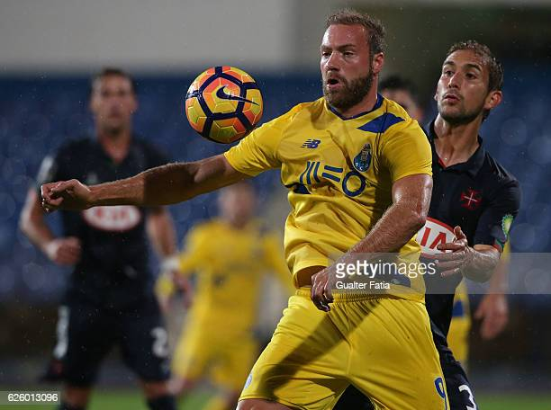 Porto's forward from Belgium Laurent Depoitre with Belenenses's defender Goncalo Silva from Portugal in action during the Primeira Liga match between...