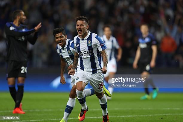 Porto's forward from Brazil Otavio with FC Porto's forward from Mexico Jesus Corona celebrates scoring Porto's goal during the UEFA Champions League...