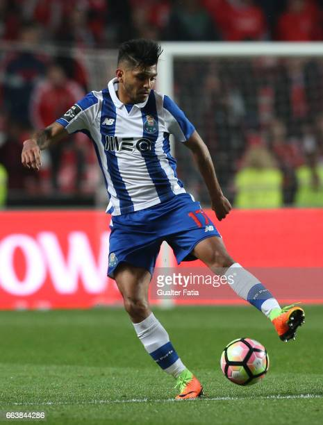 Porto's forward from Mexico Jesus Corona in action during the Primeira Liga match between SL Benfica and FC Porto at Estadio da Luz on April 1 2017...