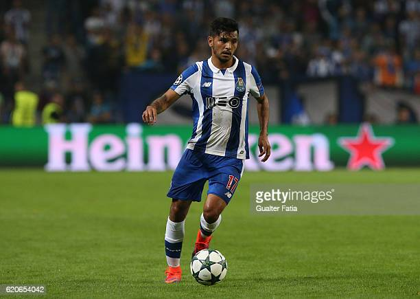 Porto's forward from Mexico Jesus Corona in action during the UEFA Champions League match between FC Porto and Club Brugge KV at Estadio do Dragao on...