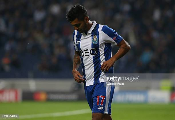 Porto's forward from Mexico Jesus Corona reaction after missing a goal opportunity during the UEFA Champions League match between FC Porto and Club...